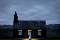 Black church in Iceland Bridal portrait.