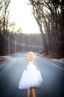 Bride walks down the road.